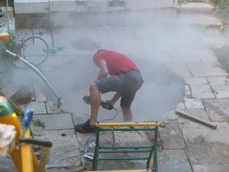 Adjusting hot tub hole
