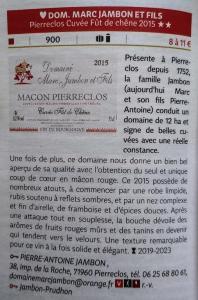 Guide Hachette 2019 - Domaine Marc JAMBON et Fils - PIERRECLOS