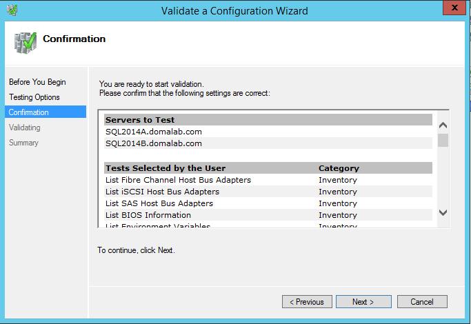 domalab.com install clustered SQL validation confirmation
