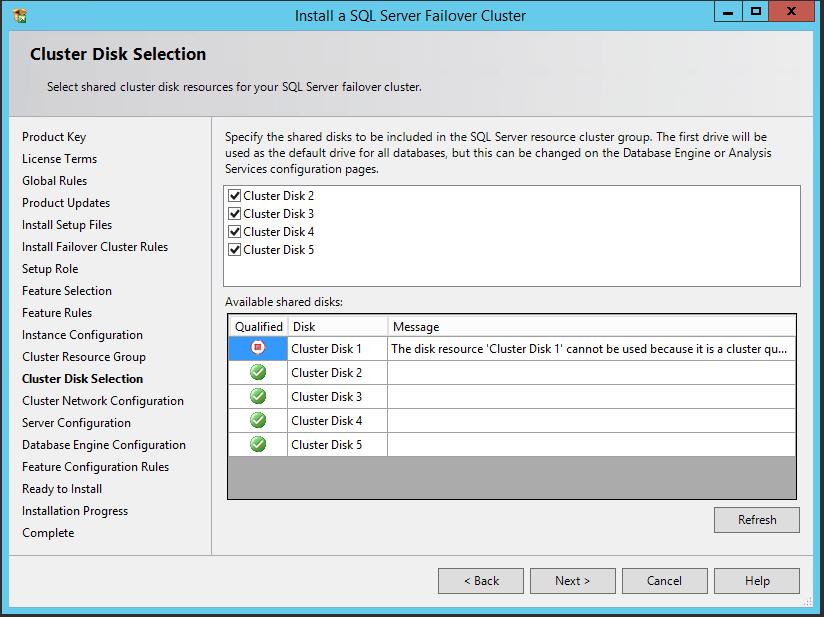 domalab.com SQL first node cluster disk selection