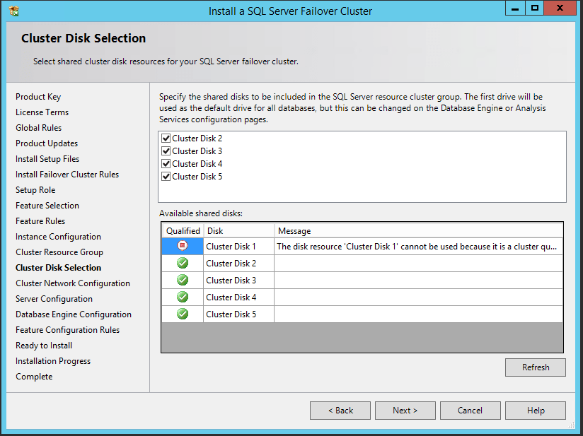 domalab.com SQL first node cluster disk selection