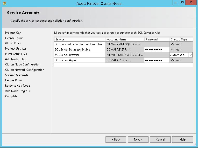 domalab.com SQL second node service accounts