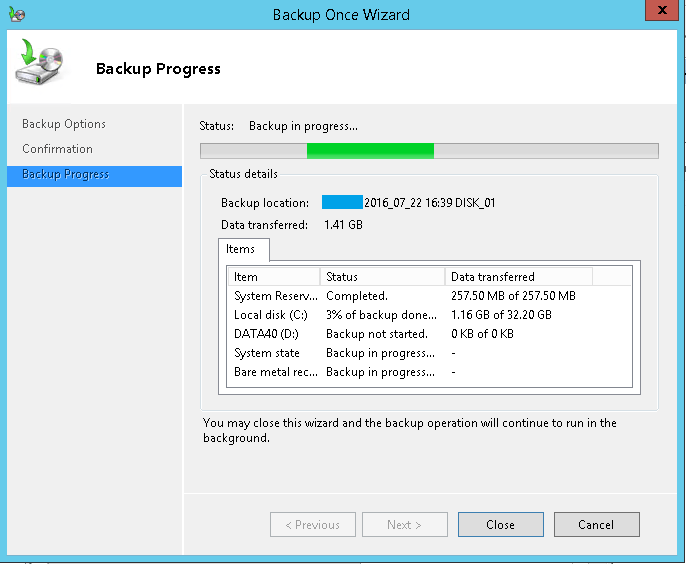 domalab.com Exchange 2016 Backup progress