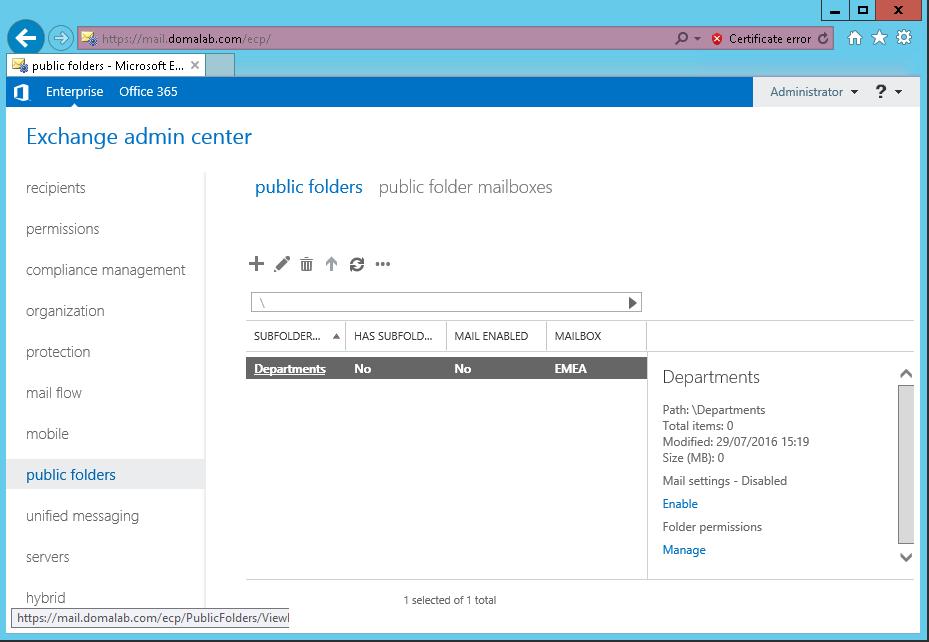 domalab.com Exchange 2016 Public Folders structure