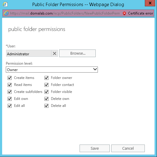domalab.com Exchange 2016 Public Folders permissions