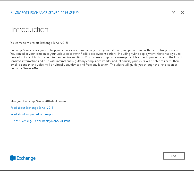 Exchange 2016 installation