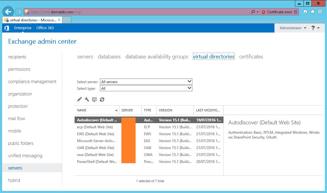 domalab.com Exchange 2016 URL Admin Center