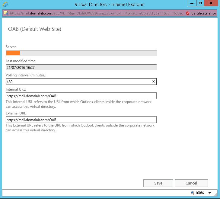domalab.com Exchange 2016 URL OAB
