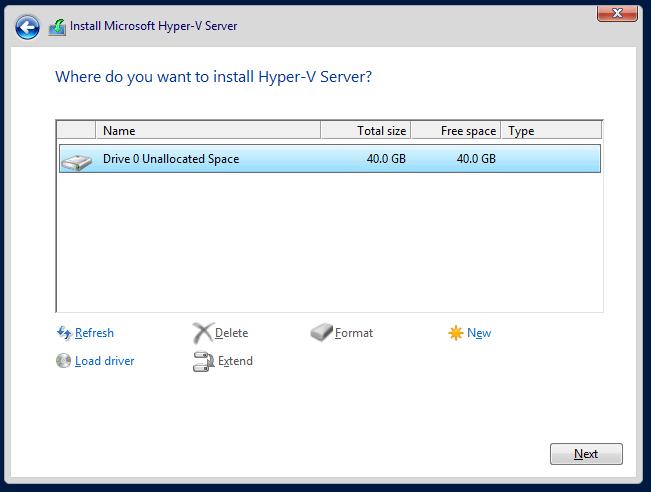 domalab.com Hyper-V nested install select disk