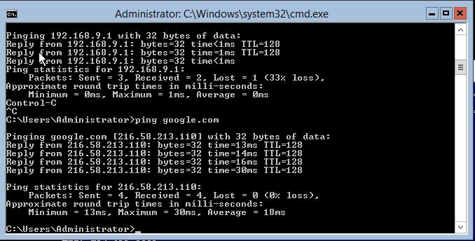 domalab.com Hyper-V nested install ping test