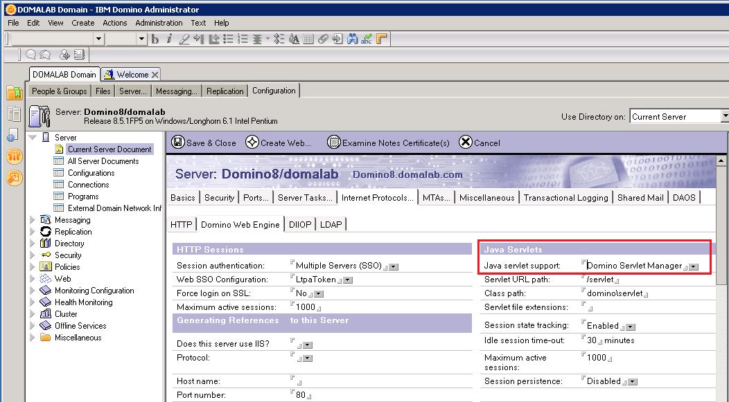 domalab.com Quickr Domino Servlet Manager