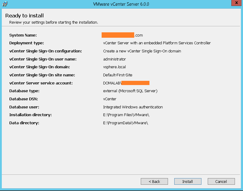 domalab.com VMware vCenter Deploy wizard summary