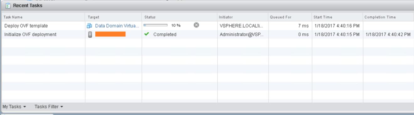 domalab.com Data Domain virtual edition ovf deploy task