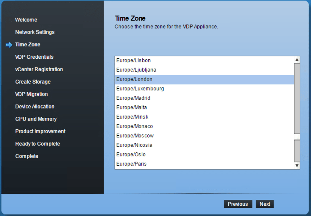 domalab.com VMware VDP configuration time zone