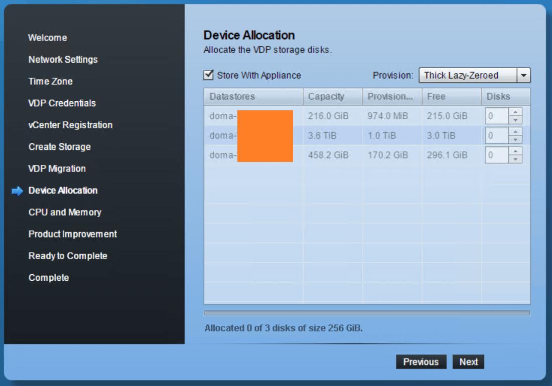 domalab.com VMware VDP configuration device allocation