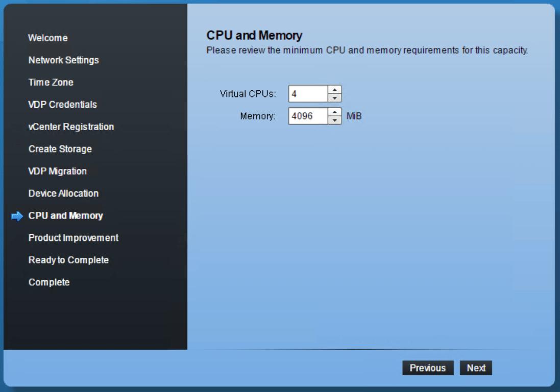 domalab.com VMware VDP configuration CPU and memory