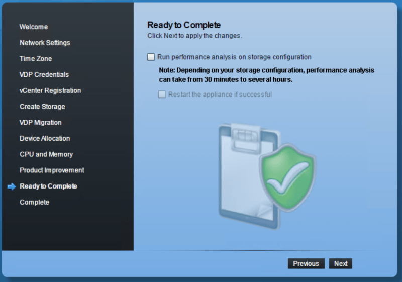 domalab.com VMware VDP configuration ready to complete