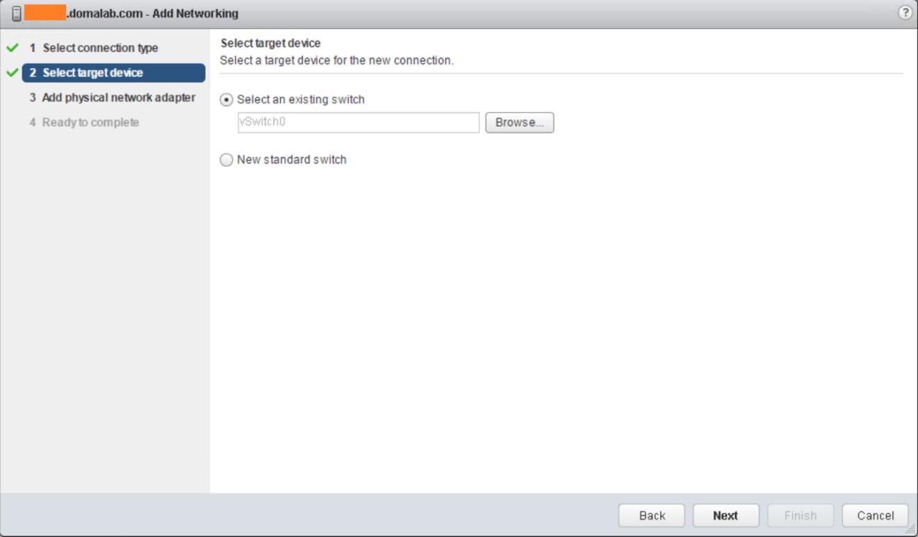domalab.com VMware vSphere Network select virtual switch