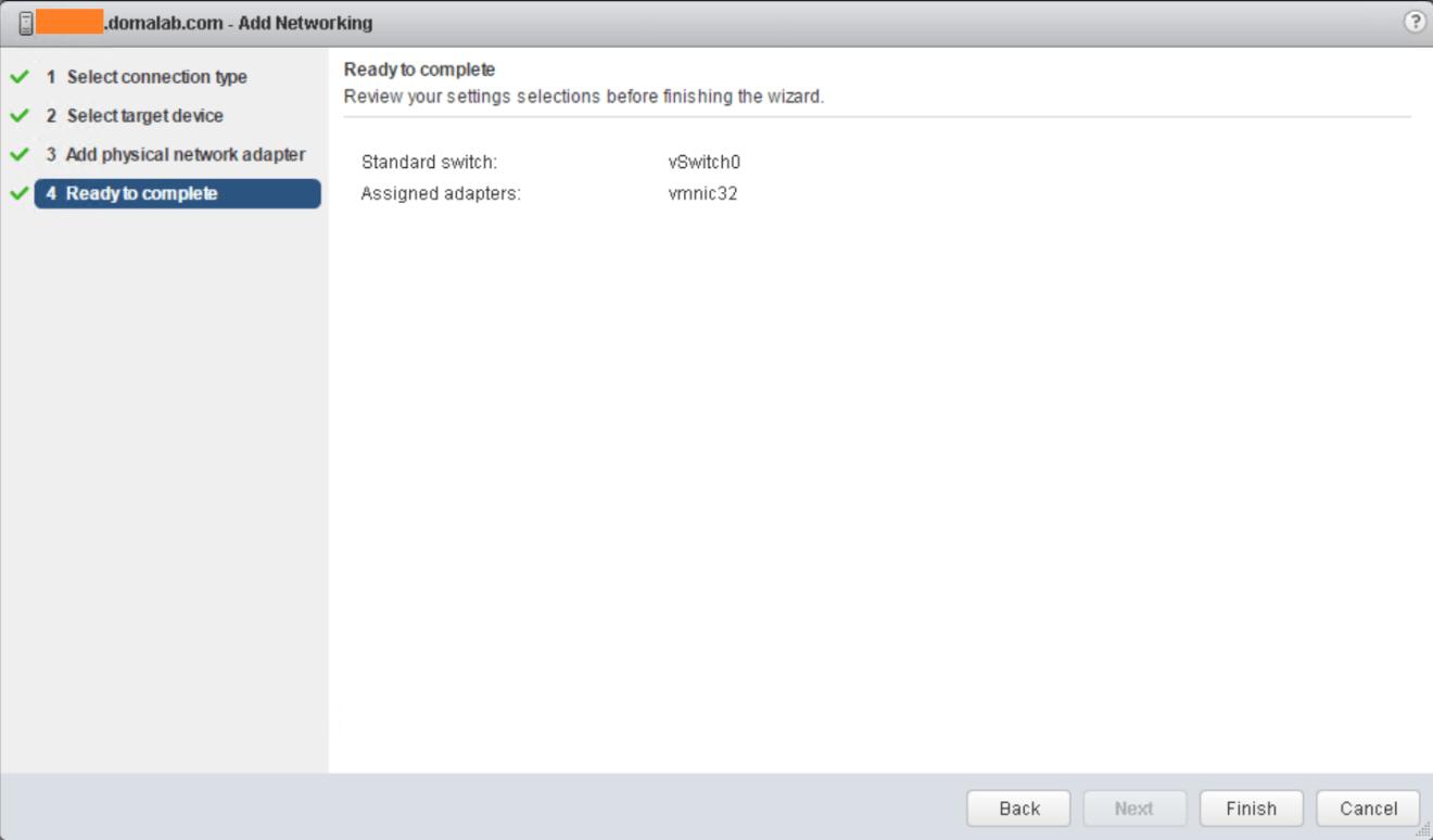 domalab.com VMware vSphere Network wizard summary