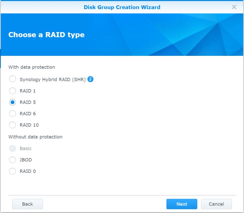 Synology NAS Disk Group RAID