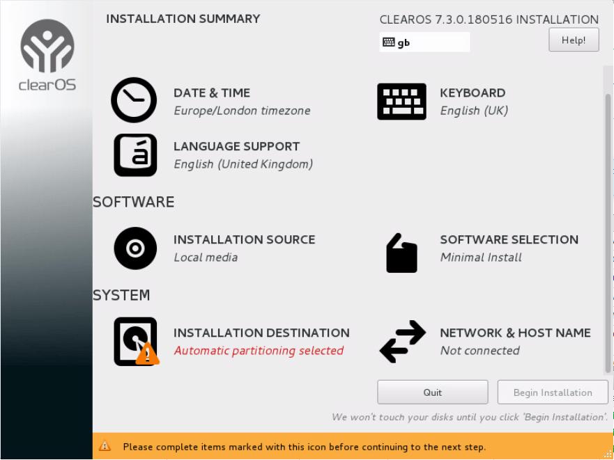 domalab.com Install ClearOS install summary