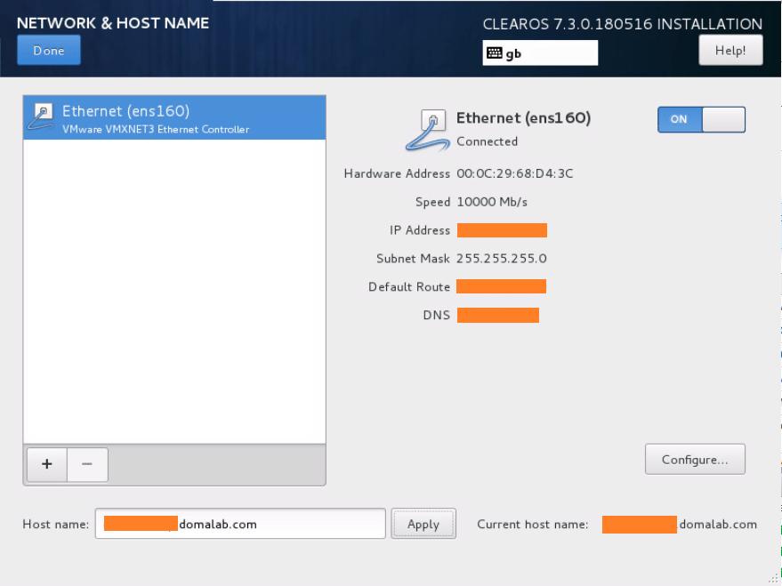 domalab.com Install ClearOS Network summary