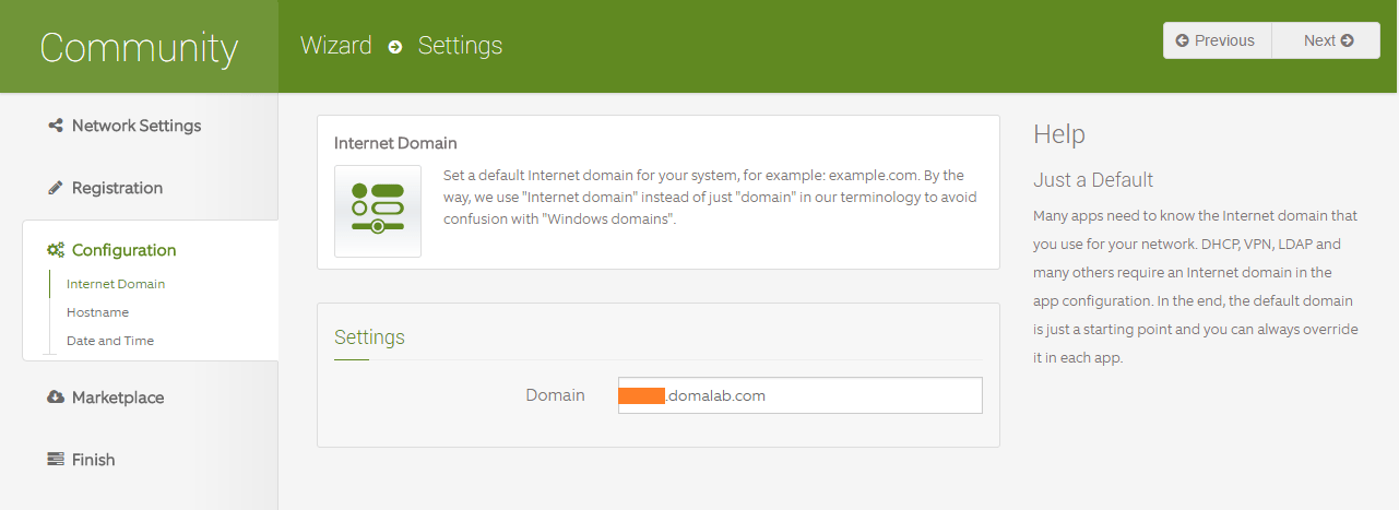 domalab.com Configure ClearOS domain settings