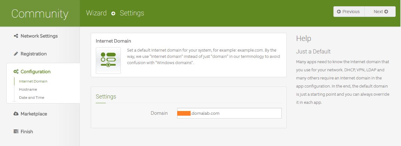 domalab.com Configure ClearOS domain settings