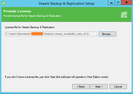 Backup and Replication License file