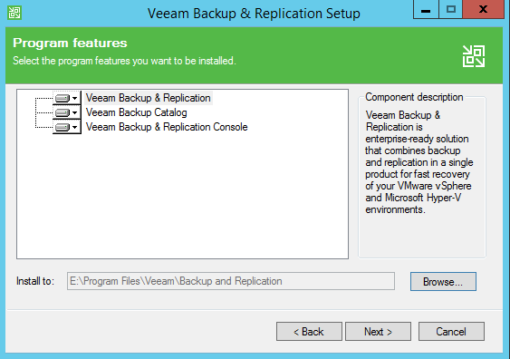 Backup and Replication Feature install