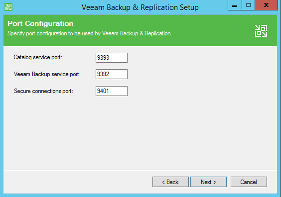 Backup and Replication install default ports