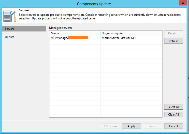 Backup and Replication component update