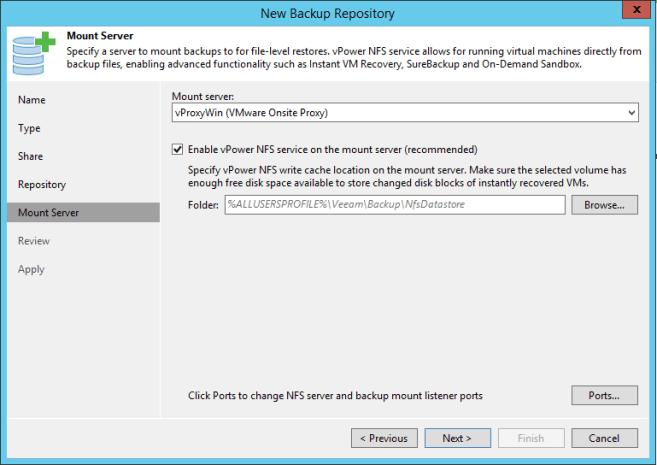 CIFS Share Veeam Mount Server