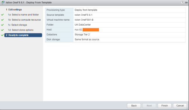 vCenter Deploy from template summary