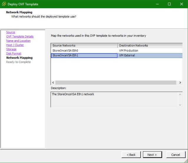 HPE StoreOnce VSA OVA Network configuration