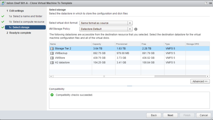 Deploy EMC Isilon OneFS template storage
