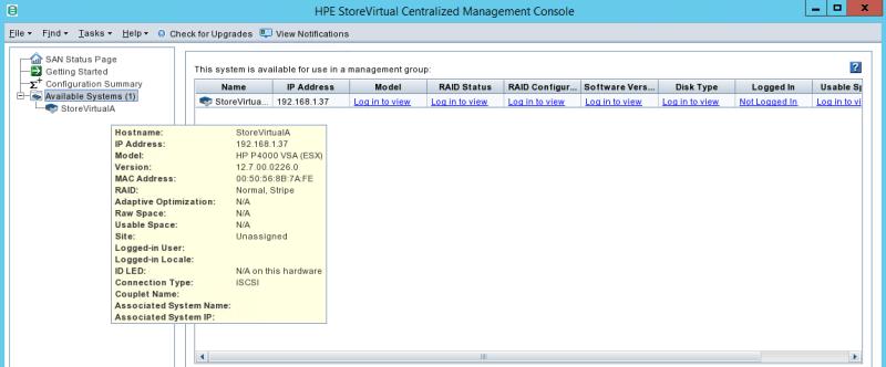 configure HPE StoreVirtual GUI