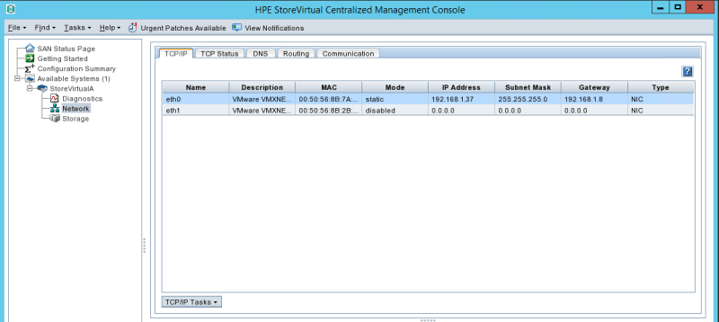 configure HPE StoreVirtual TCP/IP