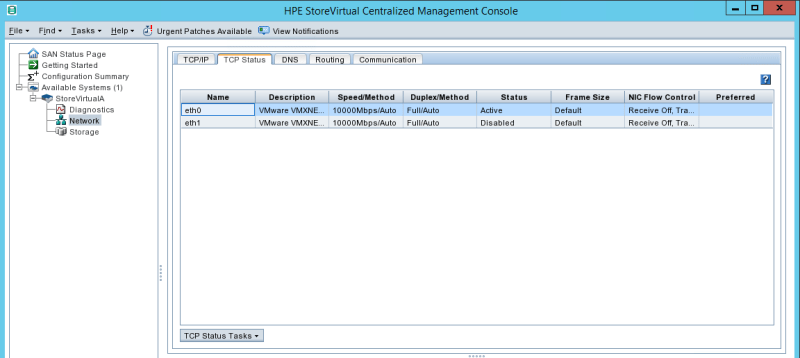 configure HPE StoreVirtual TCP Status