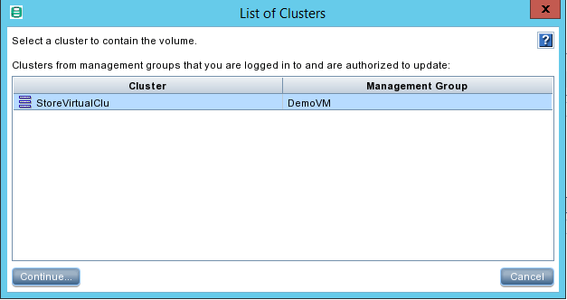 HPE StoreVirtual Management select Cluster