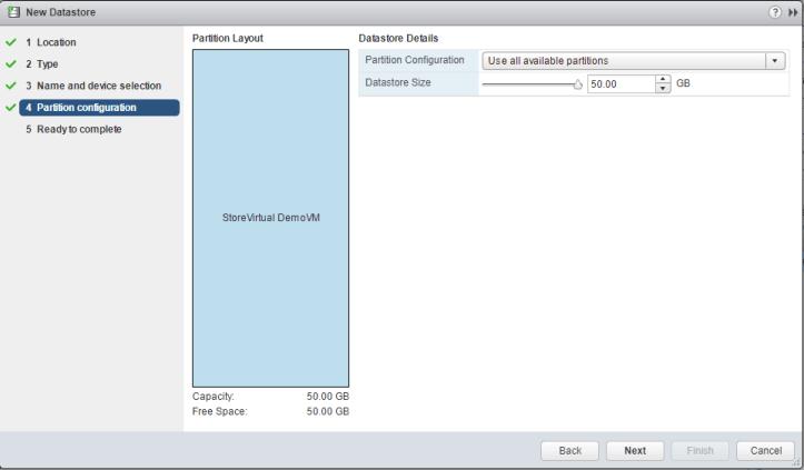 HPE StoreVirtual volume partition configuration