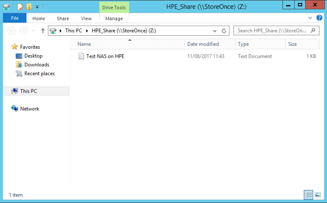 HPE StoreOnce NAS Share test file