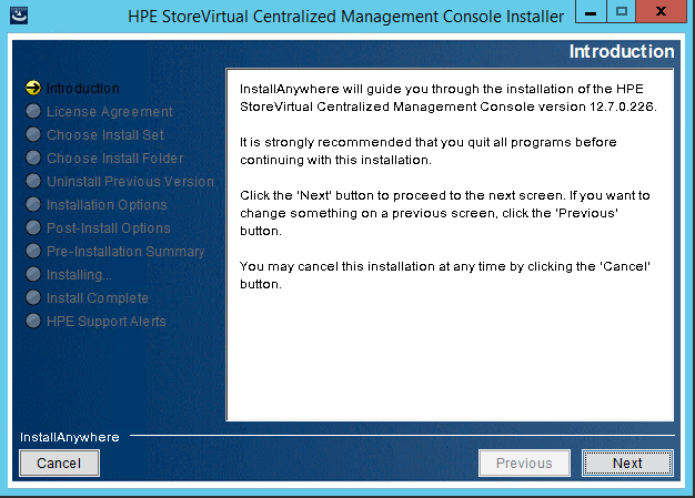 StoreVirtual Centralized Management Console install wizard