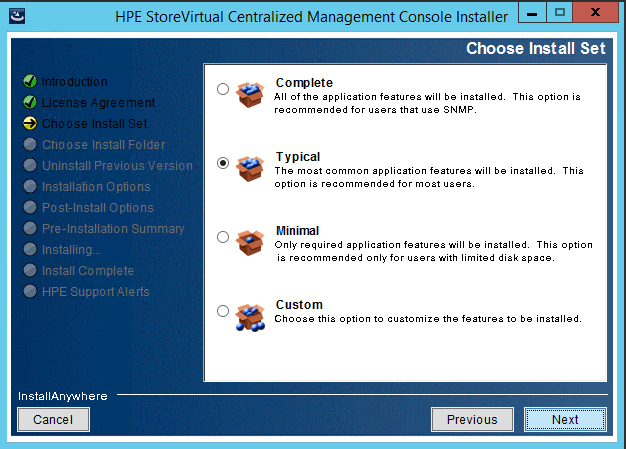 StoreVirtual Centralized Management Console install set