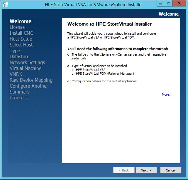 HPE StoreVirtual VSA install
