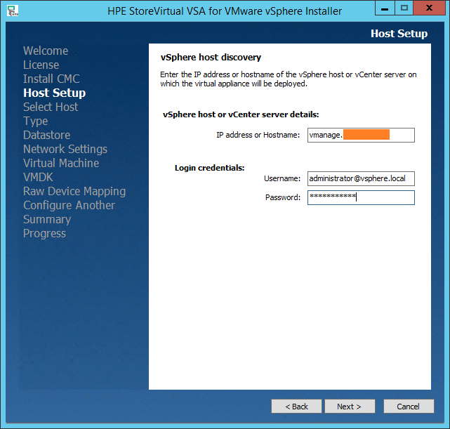HPE StoreVirtual VSA Host setup