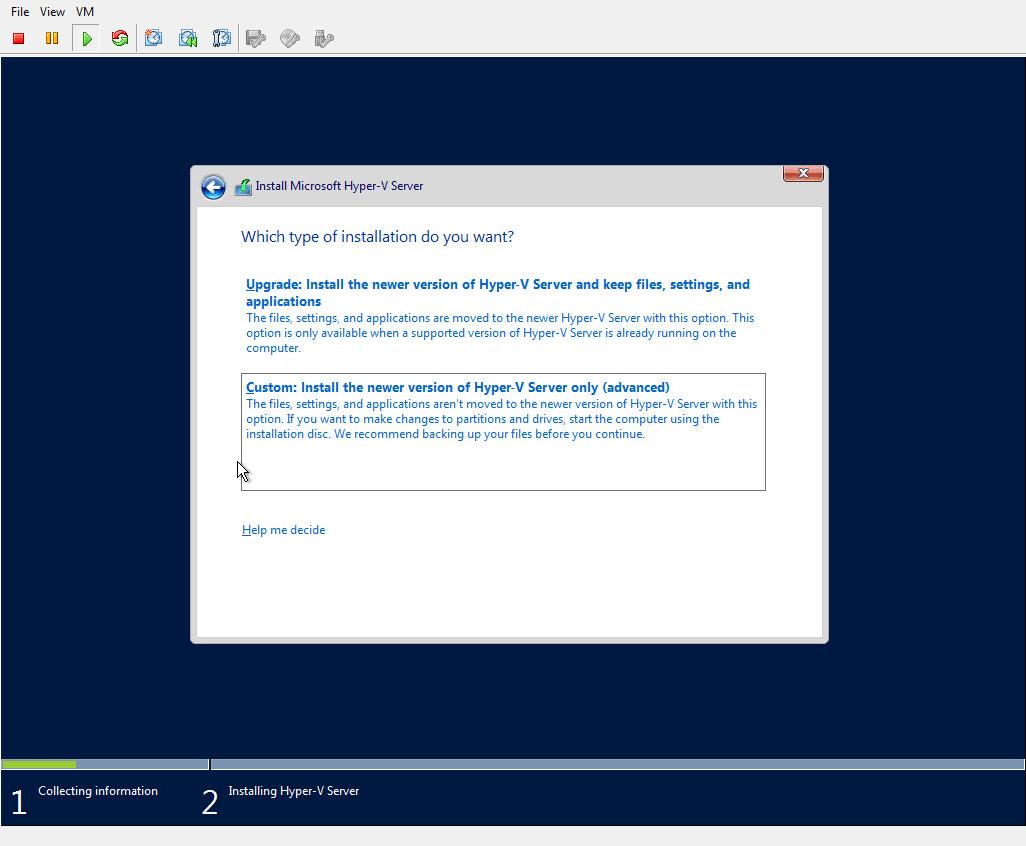 Hyper-V 2016 Install custom option