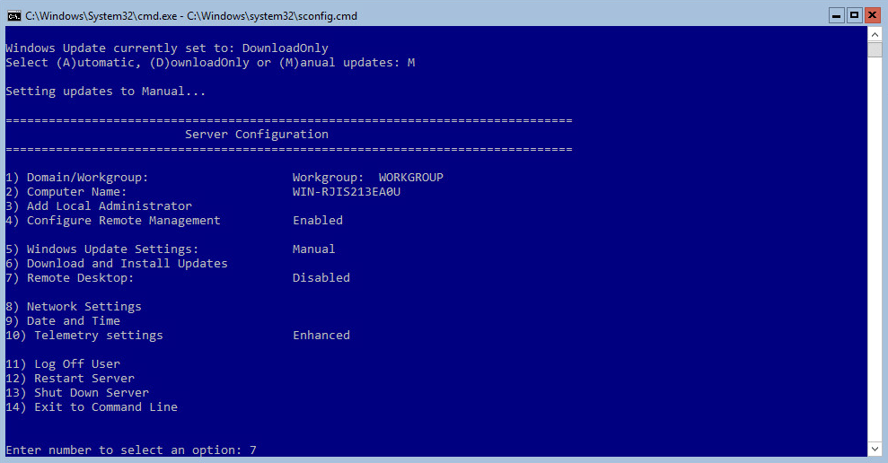 Hyper-V 2016 Configuration RDP