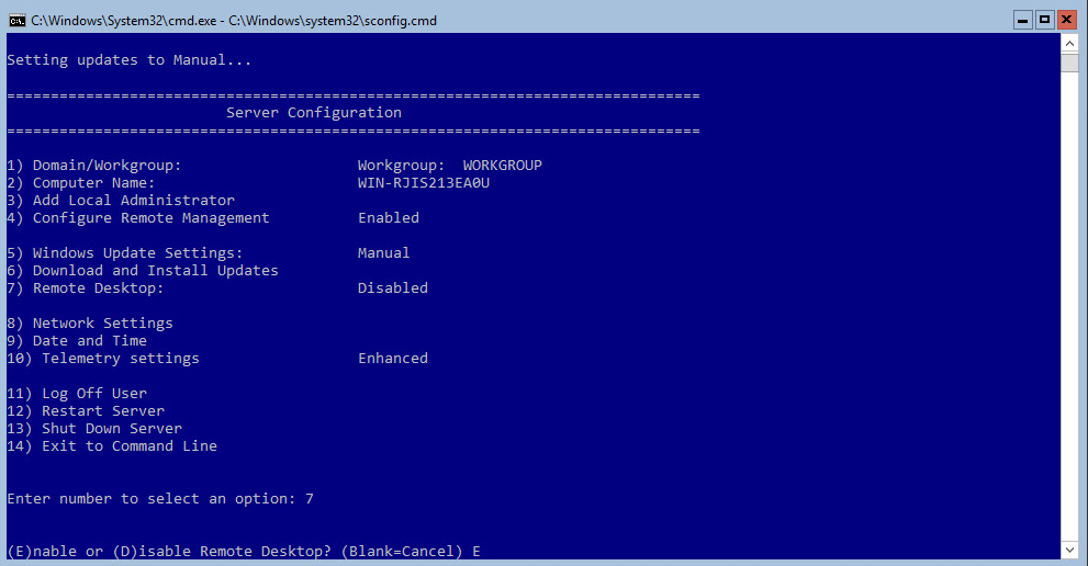 Hyper-V 2016 Configuration RDP enable