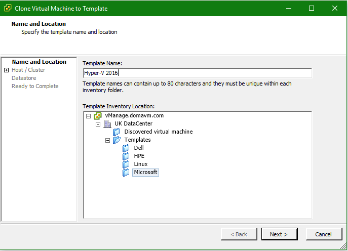 Hyper-V 2016 Configuration VMware Template